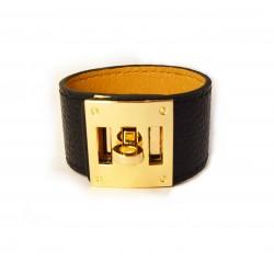 Koženkový náramek se zlatou sponou Sfinx
